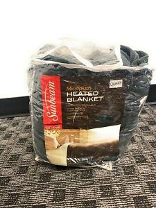 Sunbeam Heated Blanket Microplush/Sherpa Throw Lattice Dark Gray 10 Heat Setting