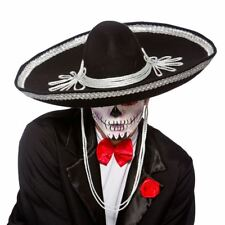 Black Sombrero Hat Day Of The Dead Mexican Bandit Fancy Dress Accessory