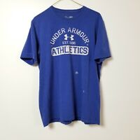 Under Armour Heatgear Mens T Shirt Medium M Loose Blue White SS Charged Adult