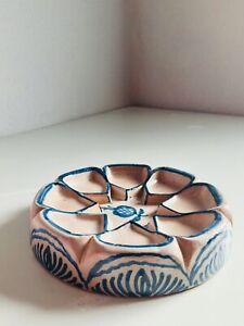 "8.5"" SIGNED Fajalauza Granada Spanish Pottery Ceramic Hand Painted, Nuts Olives"
