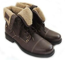 NEW MENS ANKLEBOOTS MILITARY COMBAT STYLE LEATHER LINED ROOLLOVER SHOES/DK.BROWN