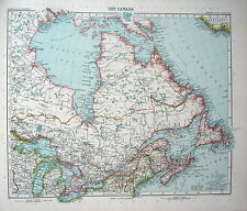 MAP ENGRAVING 1905 JUSTUS PERTHES Eastern Canada