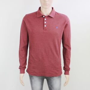 Jacob Harris Mens Size M Burgundy Long Sleeve Polo Shirt Top