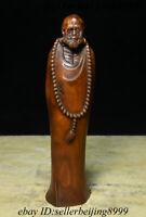 Collect Chinese Boxwood Wood Carving Arhat Damo Bodhidharma Dharma Buddha Statue