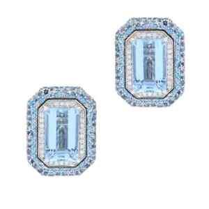 27 CT Emerald & Round Cut Aquamarine With Round CZ Women's Fabulous Stud Earring