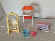 1997 Viacom Dollhouse Doll Furniture High Chair Swing Toy Box Vintage 20719