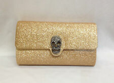 Gold Silver Glitter Evening Bag Prom Skull Clutch Handbag Purse Envelope New