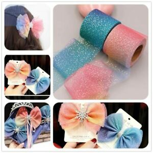 5yards 60mm/80mm Ribbon Colorful Gradient Organza Stain DIY Crafts Wedding Decor
