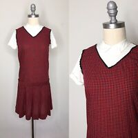 Vintage 60s Youth Crest Gingham Drop Waist Dress Extra Small