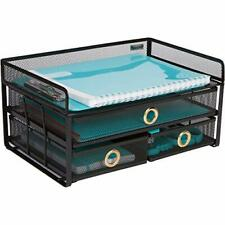Desk Organizer Tray with Sliding Drawers - File Organizer Desktop in Black Metal