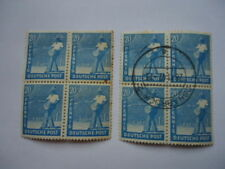 Germany 1947-8 Allied Occupation SG935 20pf light blue Block of 4 MNH & used