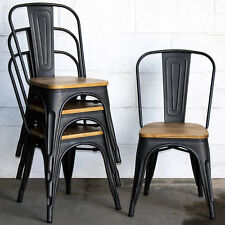 Set of 4 Onyx Matt Black Metal Industrial Dining Chairs Kitchen Bistro Vintage