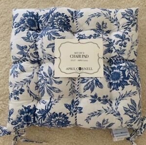 """APRIL CORNELL set of 2 Blue/White Toile Print 100% Cotton 17"""" sq. Chair Pads NWT"""
