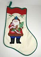 Vintage Christmas Stocking House of Hatten Santa Holding Doll Rocking Horse Tree