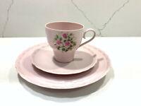 Vintage Hutschenreuther Germany Porcelaine ROSE Pink Set: Tea Cup, Saucer, Plate