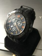 Mens Nautica Sports Chronograph Watch A43005G Black Orange Steel Genuine