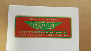 UNION Chest Tool Box 1930s - 1940s Water Slide Decal like orignal