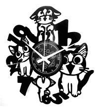 OROLOGIO DA PARETE ARTIGIANALE - DISCO VINILE - ANIMALE CASA AMICI GATTO GATTI