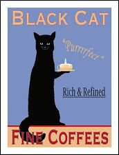 "TIN SIGN ""Black Cat Coffee"" Feline Blue Kitchen Wall Decor"