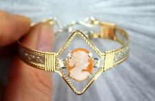 VINTAGE CAMEO BRACELET -- SIZE 5 WIRE WRAPPED STERLING SILVER + 14KT ROLLED GOLD