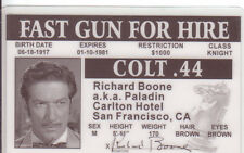 Richard Boone - HAVE GUN WILL TRAVEL western actor plastic Drivers License