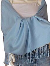 Women Soft PASHMINA SILK Classic  Shawl  Scarf Stole WRAP Baby Blue