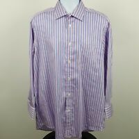 Faconnable Pink Blue White Striped French Men's L/S Dress Button Shirt Sz 16 1/2