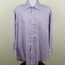 Faconnable Pink Blue White Striped French Men's L/S Dress Button Shirt Sz 16 1/2