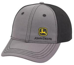 NEW John Deere Gray Front Side Logo Black Back Structured Cap LP69223