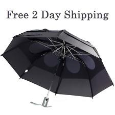 2DAY SHIP Black GustBuster Heavy Duty 43in Automatic Wind Rain Compact Umbrella