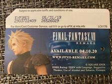 Final Fantasy VII 7 Remake Playstation 4 Metrocard Expired Collectible Limited