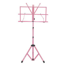 New High Quality Adjustable Strong Folding Sheet Music Stand w Carrying Bag-Pink