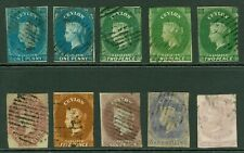 Ceylon 1857-64 imperf issues ½d, 1d x2, 2d x3, 4d, 5d, 6d & 1/-. Good to fine...