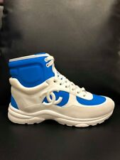NIB Chanel 18P Blue White CC Logo Lace Up Tie Flat Trainer High Top Sneaker 39