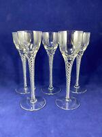 Vintage Air Twist Stem Tall Cordial Glasses Set of 5