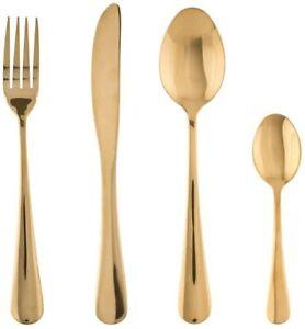 Design Besteckset 16 teilig für 4 Personen Gold farben Edelstahl Besteck Set