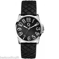 G By Guess Negro Acolchado Cuero Charol + Color Plata Enigmático Reloj G59024L2