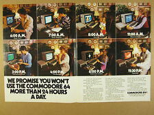 1984 Commodore 64 Computer family using 8 program screens photo vintage print Ad