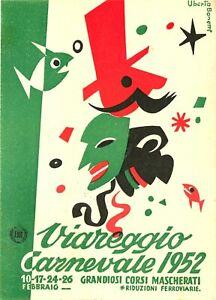 1952 CARNIVALE, VIAREGGIO, ITALY, VINTAGE POSTCARD