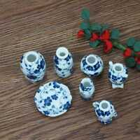 7pcs/Set 1/12 Dollhouse Miniatures Antique Classical Vase Set Doll House Decor