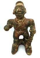 Aztec Mayan Mexican Primitive Clay Pottery Statue Figure Man Warrior Vintage