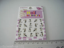 Nail tip Art stickers transfer water decals Black Tall Cat Gold eyes Jh31