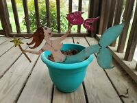 Hand Painted Handmade Iron Steel Metal Mermaid For Garden Planter Or Potted...