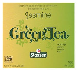 Jasmine Green Tea 100 Tea Bags Quality #1 - Stassen Pure - New!