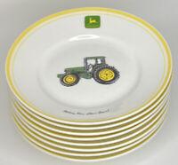 """Set of 8 John Deere Gibson 9"""" Soup Salad Pasta Bowls Yellow Rim Nothing Runs...."""