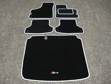 Car Mats in Black/White trim to fit Audi S3 8P (2006-2012) + S3 Logos + Boot Mat