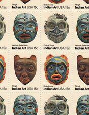 Indian Art Masks Stamp Sheet, Scott #1834-37, MNH