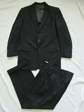Vtg 50s 1956 Date 2Pc Black Charcoal Wool Fleck Suit Jacket & Pant VLV Hollywood