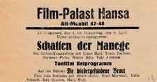 Werbezettel Film Palast Hansa Berlin für Film Schatten der Manege    (AGK1749)