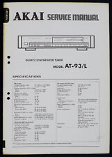 Akai AT-93/ GENUINE Quartz Tuner Service Manual/Diagram/Parts List o170